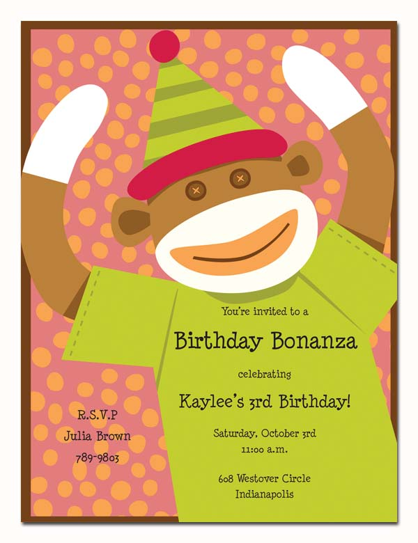 Monkey Business  - Cute monkey themed invitation.  With bright colors of green and orange and a polka dot background this creates a fun invitation for any childrens party.  Easy to print on your inkjet/laser printer or we can print for you.