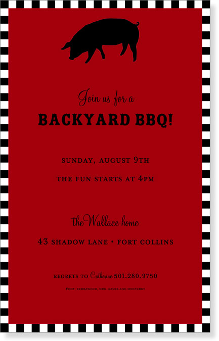 BBQ Red with Black and White Border  - This invitation is perfect for those outdoor BBQs for any occasion.  This has a bright red background with a black silhouette of a pig in the top center of the card.  To complete the design it has a black and white border around the invitation.  Include white envelope.