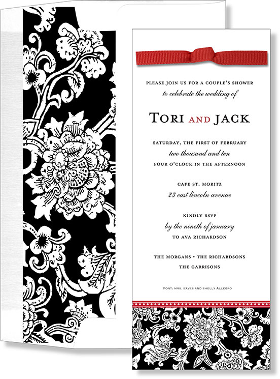 Grand Opera Invitation with Ribbon and Liner - TEMP OUT OF STOCKBeautiful black and white damask designed invitation with a slim ribbon that adorns the top of the invitation and a coordinating design on the inside of the envelope.  Perfect for a formal wedding.