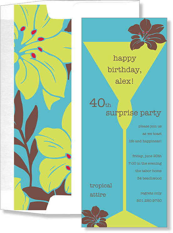 Blue and Green Hibiscus Slim   - This invitation is perfect for a tropical any tropical themed shower or party.  This card shows a long cocktail glass with a brown hibiscus sitting on the edge and the envelope is lined with hibiscus flowers on the inside. Lining requires assembly. Envelope requires assembly- Envelope liner will need to be inserted and taped to the envelope-ahesive included. If you are printing on this envelope please attach liner after printing is completed.  If purchasing personalized we can assemble for you at .25 per card.  please note in the customer comments.