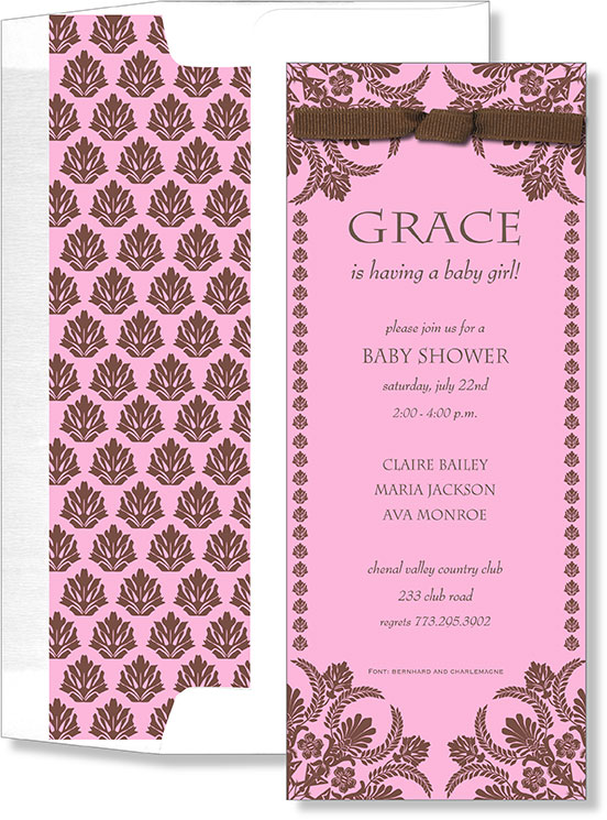 Pink and Brown elegance with Ribbon  - This is perfect for any expecting girl baby shower.  This feminine design shows a pink card with a chocolate damask design that flows through the top and bottom of the card and is adorned with a chocolate bow on the top.  Also a coordinating pink and chocolate lined envelope completes this invitation.