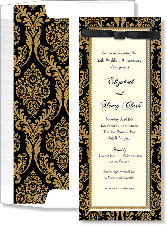 Gold and Black Elegance with Ribbon  - An Elegant invitation that is a slim card and has a border that is designed with a black and gold damask design and with a slim gold edging.  The center of this card is ivory and accented with white and has a black ribbon on the top of the invitation.  Also has a white envelope with a coordinating liner.