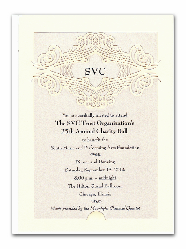 Calligraphy - Elegant laser cut monogramed invitation. Perfect for a formal wedding or engagement party.  This ivory card comes with a beautiful laser-cut design on the top center of the back card and a shimmery ivory card insert.  Requires minimal assembly  Includes an ivory envelope.