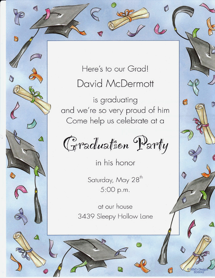 Graduation Caps Designer Paper  - A great graduation paper to announce your accomplishments!  this paper is printed with a blue border that shows graduation caps and fun confetti  with diplomas as the border.  This is a great laser paper.
