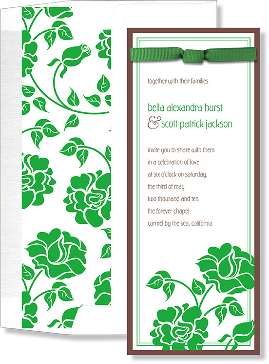 Green Elegant Slim with Bow - A perfect invitation for the spring.  This floral print has a green and brown thin border and a green bow that is placed at the top of the card.  Also includes coordinating envelope.  Assembly required.