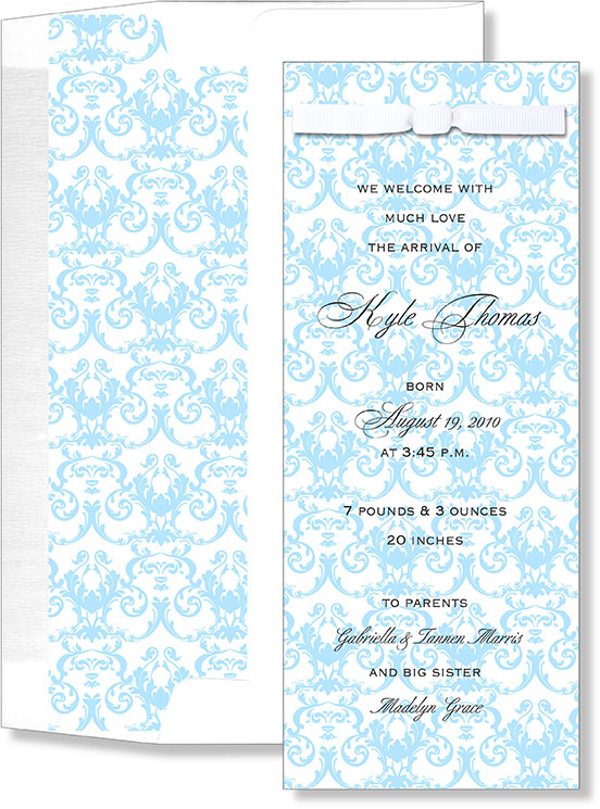 Blue Damask With Bow  - A blue damask designed slim card that has an attached white bow that fits at the top of the card.  Also comes with a coordinating lines envelope that has the same design on the inside. Assembly is required.  If you would like us to assemble please make a note in the comments section.  .50 per card will be charged for Assembly.
