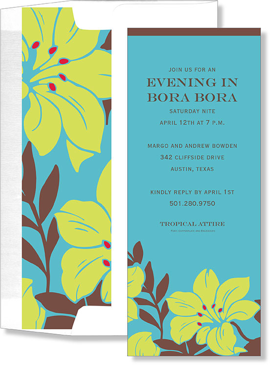 Blue and Green Hibiscus Slim  - A beautiful tropical themed invitation. This invitation has a aqua blue background with green hibiscus flower with brown leaves.  Includes a coordinating lined envelope. Envelope requires assembly- Envelope liner will need to be inserted and taped to the envelope-ahesive included. If you are printing on this envelope please attach liner after printing is completed.  If purchasing personalized we can assemble for you at .25 per card.  please note in the customer comments.