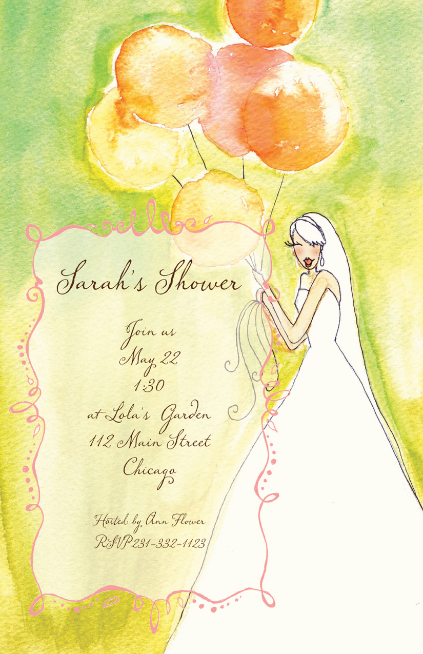 Colorful Bride  - This unique and colorful invitation has a watercolor design made with greens, yellows and orange that create a beautiful theme for a spring or summer bridal shower.  This invitation is printed on premium quality heavy felt cream cardstock.  Includes a coordinating colored envelope.