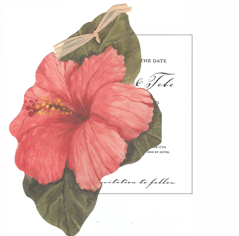 "Hibiscus Die Cut  - Stylish Hibiscus Flower Die cut with a  Brown Rafia tie and a imprintable 3.5"" x 5.5"" flat card . Also available is the added Embellishment of glitter.  If product is ordered blank or unassembled the glitter will need to be applied.   This invitation does require some assembly, if you would like us to assemble printed product we will for an additional .50 per card.  For adding glitter to each card .50 per card.  please indicate in the comment section assembly request or glitter assembly is needed."
