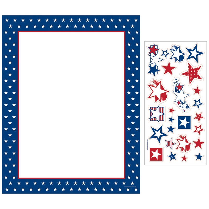 American Stars Letterhead  - Great 4th of July paper!  This festive and patriotic paper comes in packs of 100 sheets and includes a sheet of 25 star stickers.  Great for any Barbeque or company party for Independence Day! Envelopes are sold seperate.