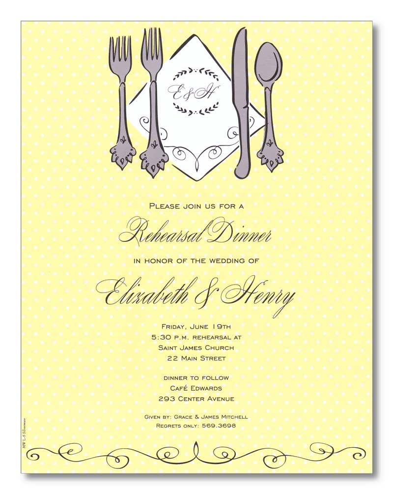 Sliverware Laser Paper  - A light yellow polka dot designed background and a set of silverware with a monogramed area for your initials this laser paper makes a perfect impression for any spring time wedding rehearsal dinner.  A small scroll design completes this great laser paper.