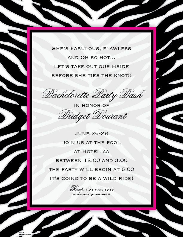 Zebra Laser Paper - With a bold zebra print border and a hot pink inner edge this 8.5 x 11 inch paper is sure to be a hit for any girls night out, bachelorette party, or a Sweet sixteen event!  Color coordinating envelopes are available, sold seperately.
