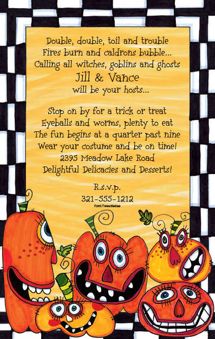 Party Pumpkins - Crazy pumpkins! Youll be spooked by these wobbly pumpkins stacked across the bottom of this unique card designed by Frank Bielec. Bright orange pumpkins in all shapes and sizes against a black and white checkered background that is PERFECT for Halloween! Premium quality cardstock is inkjet/laser compatible and available blank or personalized.  Includes white envelope.