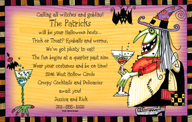 Witchs Cocktail - Double bubble, toil, and trouble! This wicked witch has brewed up cocktails fit for Halloween in the spookiest glasses youve ever seen! Enjoy this design by Frank Bielec with family, friends, and maybe a bat or two! Premium quality cardstock is inkjet/laser compatible and available blank or personalized.  Includes white envelope.