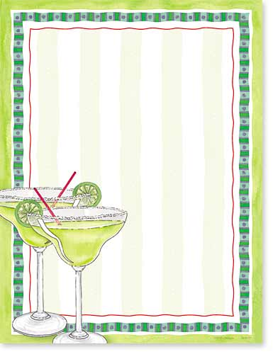 "Margarita Gone Wild Paper - Make an impression with our premium quality colorful designer 8 ½"" x 11"" laser/inkjet paper which is easy to print on your printer!A wide selection of solid color envelopes are also available to coordinate with all paper styles.  ENVELOPES ARE SOLD SEPARATELY."