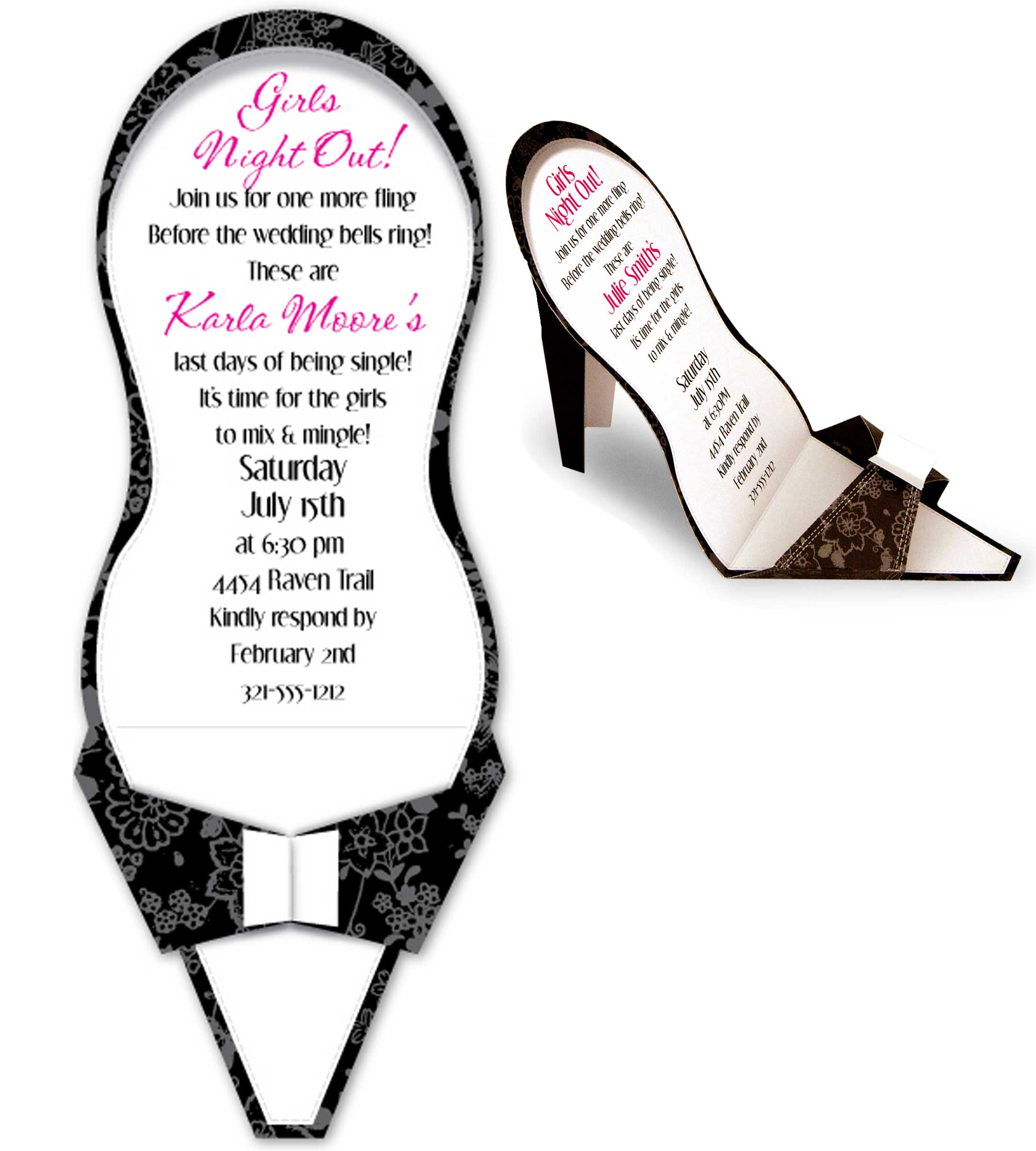 Black High Heel - A Unique and fun invitation for any Ladies Gathering!  This invitation is a die-cut invitation, when slipped from the envelope it folds to a standing high heeled shoe.  This high heel is decorated with a fun black and gray floral print and has a white area for printing. This makes a one of a kind bridal shower announcement or girls night out invitation.  Includes white envelope.