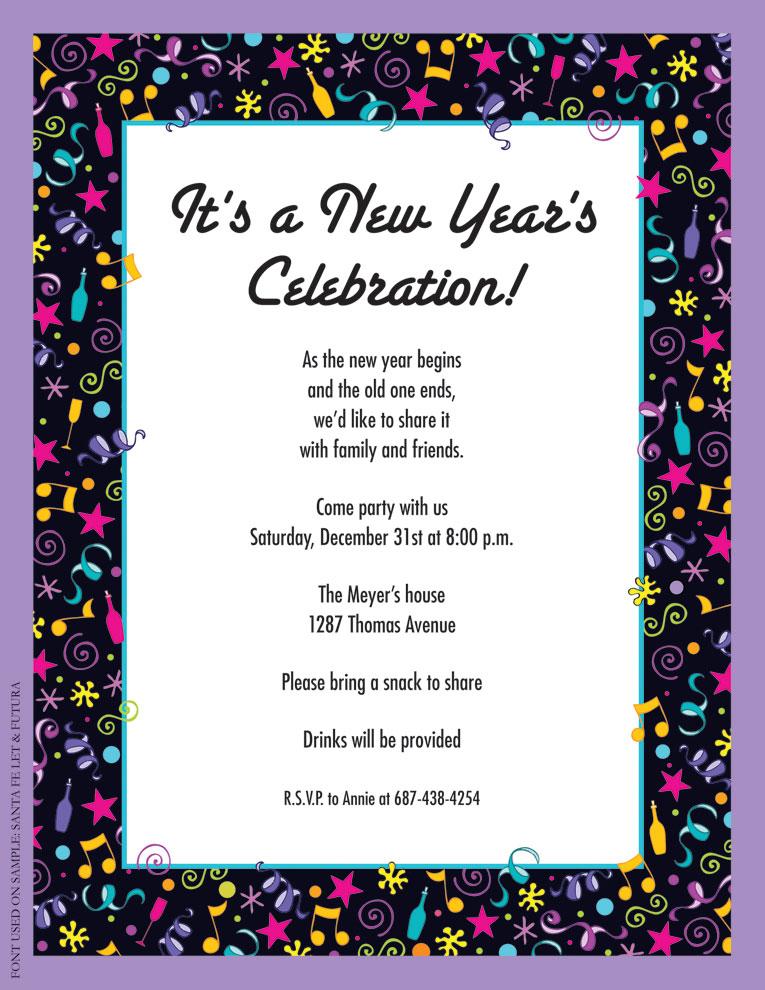 New Years Invitation for good invitation design