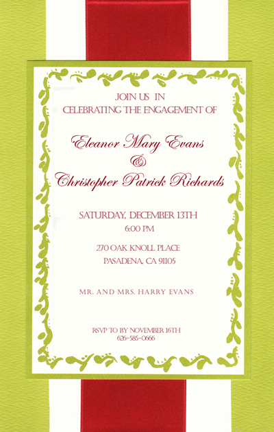 Holiday Green with Red ribbon Layered Invitation - A fun and elegant invitation that is designed on an ecru card stock and has a light green background with a ecru stripe down the center.  A top layered card has a coordinating green border with a fun scroll design around the edging and a Red thick ribbon runs along the center of this invitation.  Assembly is required.  Includes an encru envelope.