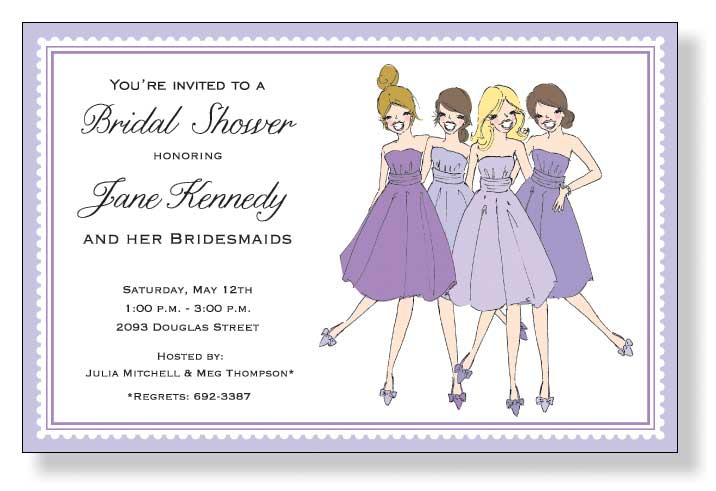 Lilac Bridesmaids - A lilac bordered invitation that is designed with a group of bridesmaids dressed in there coordinating dresses for the big day! Perfect for a bridal shower or a wedding party dinner.  Includes a white envelope.