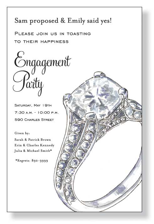 Big Sparkle - Looking for a great design for an engagement party?  This is it!  A simple invitation that is designed on a white cardstock and has a big diamond ring to the side to let everyone know, she said yes! Includes a white envelope.