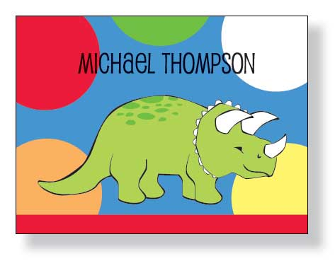 Dino Dot Notecard - A Great compliment to the Dinosaur  and Playground Party Invitations. Includes a white envelope.