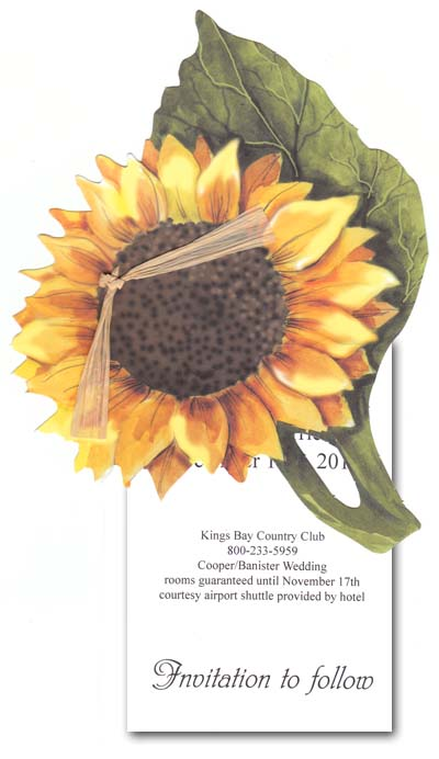 "Sunflower - Stylish Sunflower Die-Cut with a  Brown Rafia tie and a imprintable 3.5"" x 5.5"" flat card.  This invitation does require some assembly, if you would like us to assemble printed product we will do it for an additional $.50 per card. Please indicate in the comment section assembly request is needed."