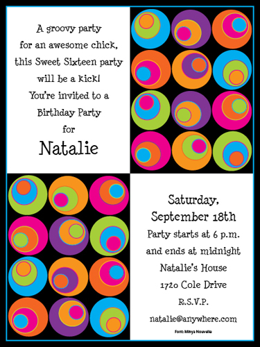Mod Dots  - Colorful and fun! Premium quality cardstock is inkjet/laser compatible and available blank or personalized.  A fun Retro circle design with bright colors that is great fro any retro themed party. Includes white envelope.