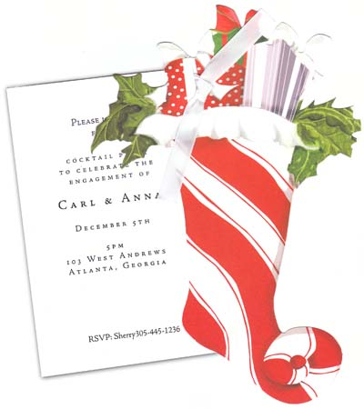Holiday Stocking  - A festive holiday Striped stocking with colored in a candy cane red and white with a touch of holly sticking out of the sides. This die cut comes with a white invitation tag that ties together with a black satin ribbon.  If you are purchasing personalized product and would like us to assemble please note in the comment section. .30 cents per invitation charge for assembly.comes with a white envelope. Glitter upgrade is available also.