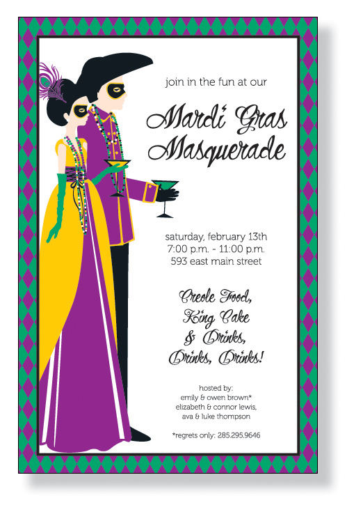 Bourbon St Couple - A fabulous invitation for a couples masquerade party, or celebration fat tuesday!  This mardi Gras inspired invitation has the traditional colors of green,purple and gold for you next Mardi Gras Party!  Includes white envelopes.  We have dark green envelopes available at .25 cents per envelope.  Please make comments in notes if you would like to upgrade.