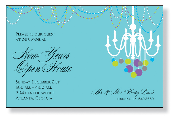 Deco Chandelier - This invitation is decorated with a holiday chandelier! The white silhouette shows colorful ornaments hanging from each candle and colorful beads strung across the ceiling. It is perfect for a New Years Eve celebration! A trendy Holiday design printed only on premium fine quality 80 lb. card stock. Available either blank or personalized. Includes white envelope.