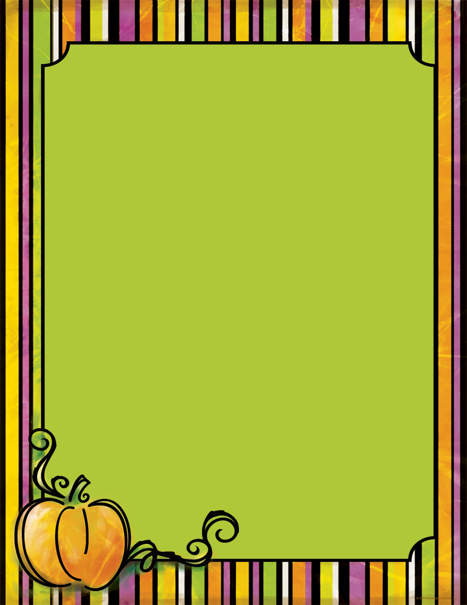 Spooktacular Laser Paper  - Perfect for your fall event, this stationery has a striped border with all the great colors of fall!  A large orange pumpkin perched on the lower left  corner of the page completes this design.  Envelopes are sold separately.
