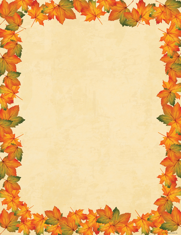 Painted Maple Leaves Laser Paper  - A perfectly fall paper that has the beautiful colors of the season on the leaves that flow around the edge of this stationery.  colored envelopes are available but are sold seperately.