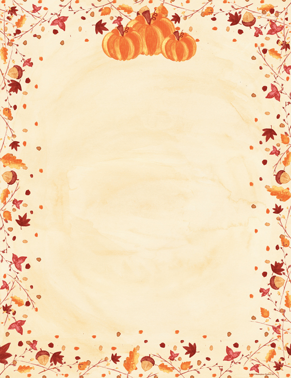 Fall Paper Borders Painted pumpkins laser paper