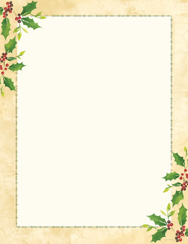 Falling Holly Laser Paper - Sophisticated holiday border paper with ...