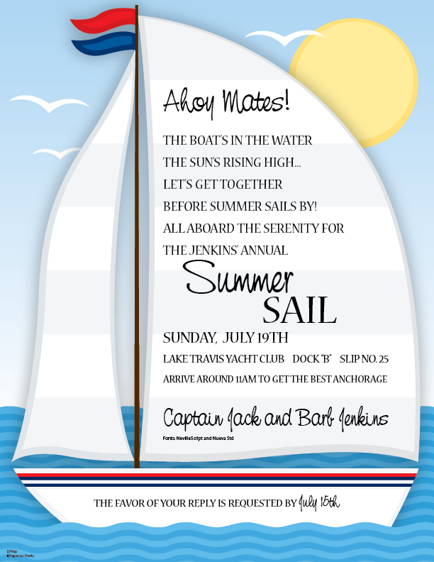 Set Sail Designer Laser Paper  - A fun designer laser paper that is created with a large sail boat that is ready to set sail and the sun is high in the sky.  Great for an outdoor summer party.  Colored envelopes are sold seperately.