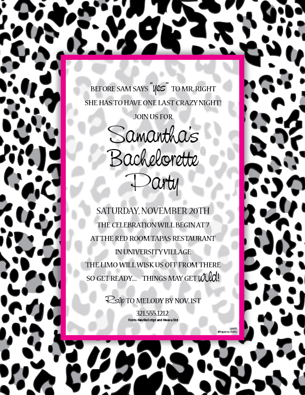 Black and White Leopard Designer Laser Paper  - Let them know its going to be a Wild tim!  This laser paper is perfect for any bachelorette party.  Designed with a black and grey leopard design and completed with a hot pink border that completes this design.  Colored envelopes are available but are sold seperately.
