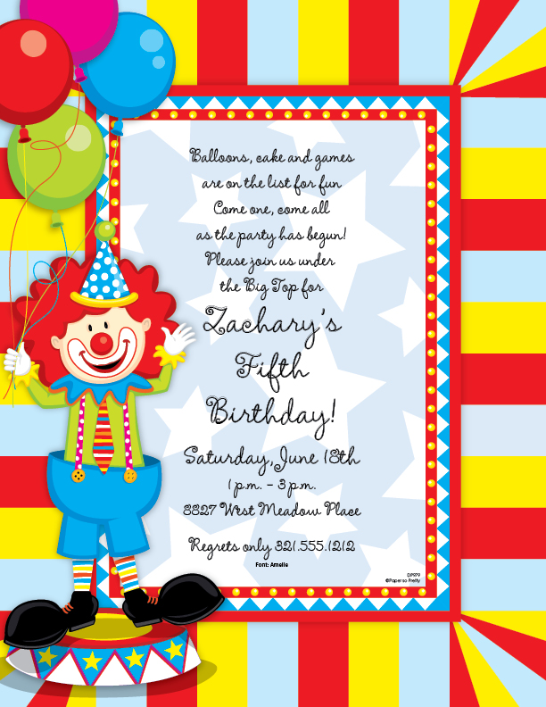 Circus Theme Invitation was adorable invitations layout
