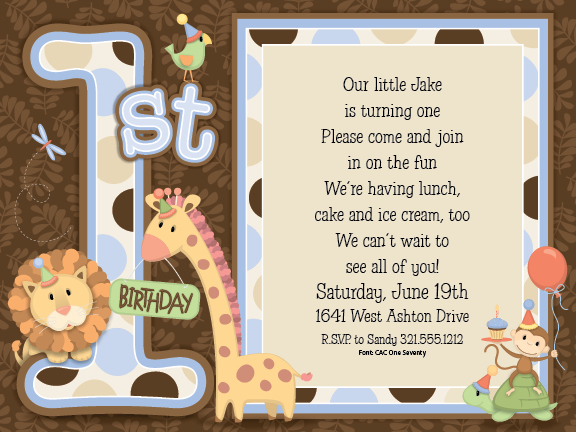 Watch more like Boy First Birthday Party Invitation Background – Safari First Birthday Invitations