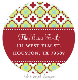 Holiday Delight Address Label - Beautifully printed with a matte finish, take note! designs custom address labels are the perfect complement to your custom printed greeting cards or invitations. Label comes with your family name and address printed on them.  This label is only available personalized. It comes in sets of 12. Minimum order is 36.