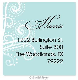 Celebration Address Label - Beautifully printed with a matte finish, take note! designs custom address labels are the perfect complement to your custom printed greeting cards or invitations. Label comes with your family name and address printed on them.  This label is only available personalized. It comes in sets of 12. Minimum order is 36.