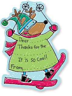 "Skiing Reindeer Kids Fill-In Thank Yous - Let your kids to say ""Thank You!"" in a way that is fun and simple. This cute set of Noodles thank you notes is decorated with a reindeer on skis! He is all decked out in snow gear and goggles ready for a ride down the slopes. Kids need only fill in a few details, and they are done! A great way to get kids started early on giving thanks. Includes coordinating envelope."