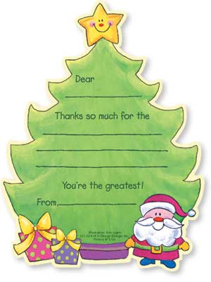 "Tree with Happy Star Kids Fill-In Thank Yous - Let your kids to say ""Thank You!"" in a way that is fun and simple. This cute set of Noodles thank you notes is decorated with a big Christmas tree. A tiny Santa Claus and some presents are near the bottom, while a happy shining star sits atop the tree. Kids need only fill in a few details, and they are done! A great way to get kids started early on giving thanks. Includes coordinating envelope."