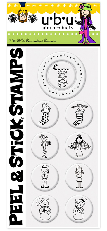 Peppermint Peel N Stick Pack  - Dress up your holiday letters and crafts with these christmas themed peel n stick stamp packs.  This pack has 9 seperate center designs and one outer design that all can be interchangeable.  These stamp packs must be used with a PSA-Peel N Stick stamper. Blank Stamper is available but sold seperately.