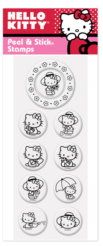 Hello Kitty 2 Peel N Stick Pack  - Hello kitty! Great new product from Peel n stick that lets you interchange your stamper to any of these great Hello kitty stamps.  There are 9 center images and one outer border image.  these stamps work with the PSA Peel n stick stamper.  Stamper sold seperately.