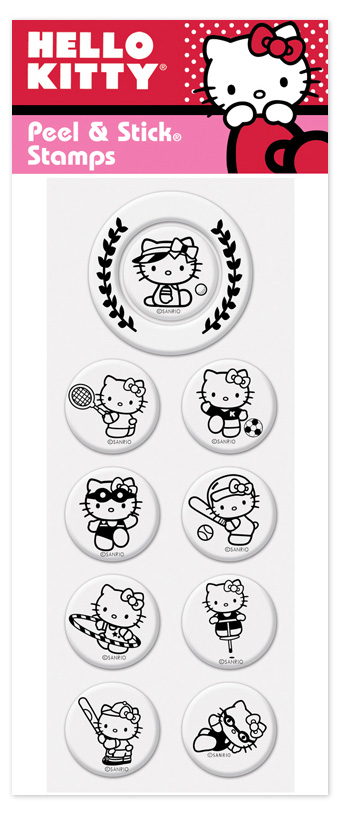 Hello Kitty 3 Peel N Stick Pack  - Hello kitty! Great new product from Peel n stick that lets you interchange your stamper to any of these great Hello kitty stamps.  There are 9 center images and one outer border image.  these stamps work with the PSA Peel n stick stamper.  Stamper sold seperately.