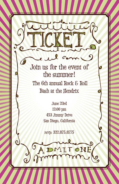 Ticket to Ride - This versatile invitation is great for any event! Whether you are hosting an event involving a concert, a theater, or want to use it as an admissions ticket, this great design is the perfect fit. Admits one! This fun 5.5x 8.5 invitation is available blank or personalized. Glitter embellishment available. Coordinating envelope included.
