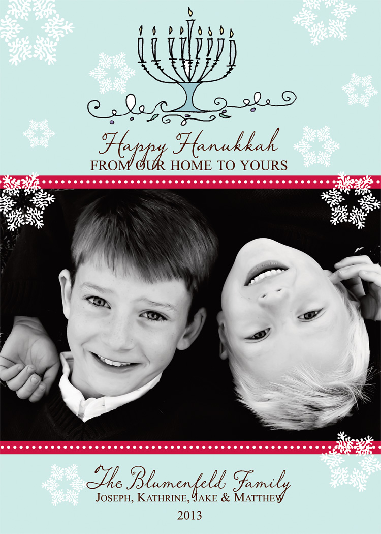 Hanukkah Digital Photo Card  - This graceful and elegant photo card is decorated with snowflakes against a soft blue background. It uses red accents in the polka dot stripe bordering your holiday photo. At the top is a menorah with all nine candles lit. Photos will be printed as they are sent, unless you request black and white change.  Includes coordinating envelopes.