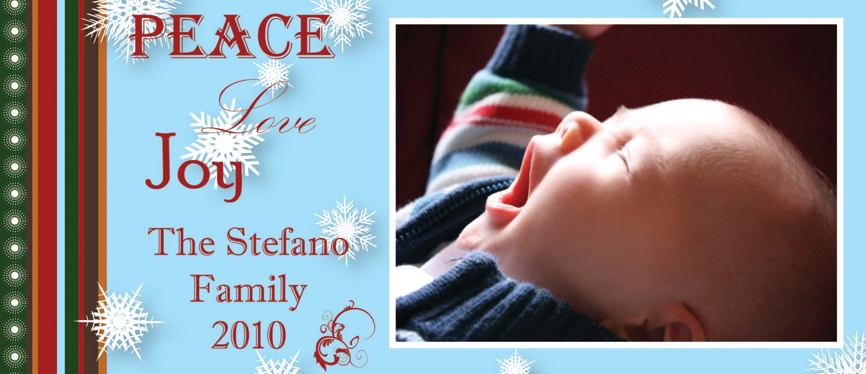 "Peace & Joy Slim Photo Card - This crisp digital holiday photo card is decorated with snowflakes against a pale blue background. The side border mimics a Christmas sweater. There is room for one photo to show your children, family, or even pets to loved ones! ""Peace Love Joy"" is an optional portion of text, and will be included unless otherwise specified. Spread Christmas cheer or simply seasons greetings with this exclusive photo card design!"