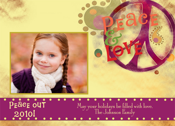 "Peace and Love Digital Photo Card  - Its all peace and love around the holidays and what better way to send your greeting that this fun hippie themed holiday greeting card!  Created with a mix of purples on the peace sign and the words ""peace and Love"" in colorful text.  Peace and love can be changed to other text but space is limited.  Includes a white envelop."