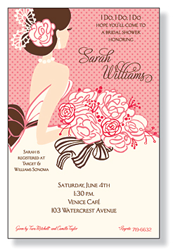Blushing Beauty - Get ready for the bridal shower! A trendy and colorful bride with a bouquet of roses on the pink polka dots background. This invitation is printed only on premium fine quality 80 lb. IVORY card stock. Easy to print on your inkjet/laser printer (blank)...or we can print for you (personalized). Includes ivory envelopes.Dont forget a coordinating foldover card!